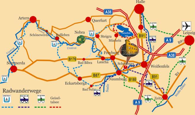 Radwanderkarte Saale-Unstrut mit Naumburg